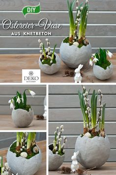 DIY: stylische Ostereier-Vasen aus Knetbeton selbermachen From Knetbeton can be made super stylish vases in egg form! You can make the vases in any size and individually plant them with real sp Diy Trellis, Crepe Paper Flowers, Garden Projects, Spring Flowers, Garden Art, Diy Garden, Diy Design, Event Planning, Easter Eggs