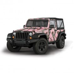 AMAZING.... LOVE jeep wrangler.. PINK mossy oak pink camo.. <3 Pink car, pink convertible, pink jeep, pink SUV, pink motorcycle, pink vespa