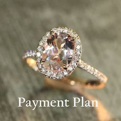 Payment Plan: Halo Diamond and 9x7mm Oval by LaMoreDesign on Etsy