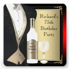Elegant 75th Birthday Invitations for Men - What a great pick for a sophisticated event!