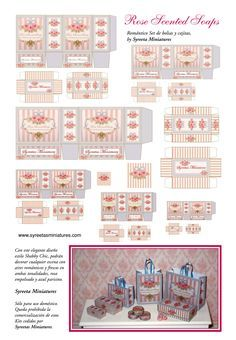 Miniature Printables - Rose Scented Soap Bags and Boxes.