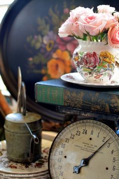 Tole trays, transferware, bird houses and vintage garden in Potting Shed | homeiswheretheboatis.net