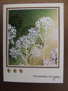 handmade card ... layers of sponging and embossing ... luv the impressionistic look ... silhouette flowers ... great card!!