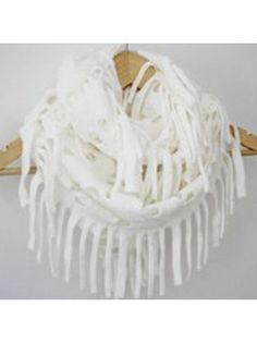 Hollow Out Knit Snood White With Tassels