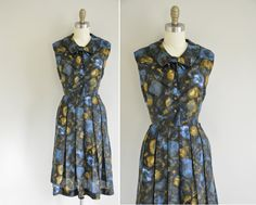 vintage 1950s dress / 50s blue and yellow by simplicityisbliss, $98.00
