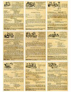 ATC Backgrounds Vintage Antique Recipes Kitchen Printable Digital Collage Sheet