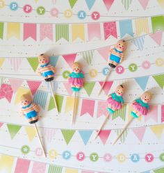 Vintage-like Children Cupcake Toppers by PartyPopPop on Etsy
