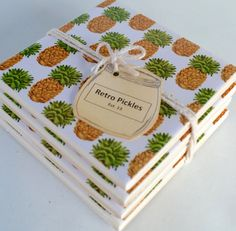 Ceramic Tile Coasters Retro Pineapples 038 by RetroPickles
