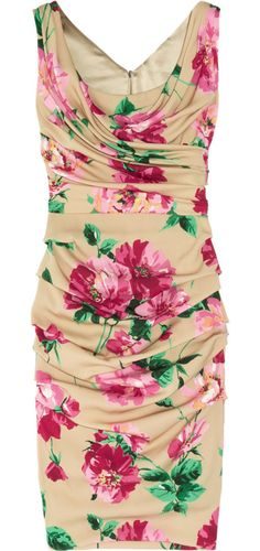 Dolce & Gabbana Peony-print ruched stretch-silk dress
