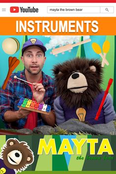 Baby music with Mayta The Brown Bear. Watch the Idea Train bring in different instruments that shake, ding, boom, clap, jingle and toot. Mayta The Brown Bear features educational learning videos for toddlers. Baby Learning Videos, Toddler Learning, Toddler Activities, Boom Clap, Music For Toddlers, Choo Choo Train, Baby Music, Educational Videos, Toot