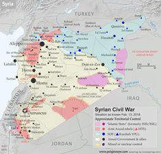 """Latest on the Syrian Civil War: Map of """"Islamic State"""" (ISIS/ISIL), rebel, and Kurdish control in Syria, updated to February Includes timeline of changes to territorial control over the past three weeks, with sources cited. Earthquake Prediction, Syrian Christians, Political Geography, Syrian Civil War, Arab Spring, Historical Maps, Aleppo, Cartography, Military History"""