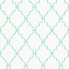 """Add a touch of visual interest to your master suite or powder room with this chic wallpaper, showcasing a quatrefoil trellis motif in black and white. Made in the USA.     Product: WallpaperConstruction Material: Pre-pasted paperColor: White and soft turquoiseFeatures:   Quatrefoil trellis motif 6.88"""" Design repeatDip in water to activateRoll covers 56 square feet Dimensions: 56'Cleaning and Care: Washable and strippable"""