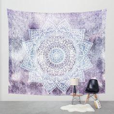 Goldbeing indisch Wandteppich Wandbehang Mandala Tuch Wandtuch Gobelin Tapestry Goa Indian Hippie-/ Boho Stil als Dekotuch Tagesdecke indisch orientalisch psychedelic x Lila Schneeflocken)