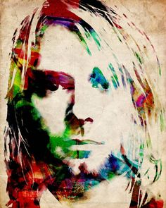 """""""Kurt Cobain Urban Watercolor"""" by Michael Tompsett, Castellon // A mix of traditional watercolor and digital work. Kurt Cobain was an American singer-songwriter, musician, and artist, best known as the lead singer and guitarist of the grunge band Nirvana. Cobain established Nirvana in 1985 with Krist Novoselic. After there first album... // Imagekind.com -- Buy stunning, museum-quality fine art prints, framed prints, and canvas prints directly from independent working artists and…"""