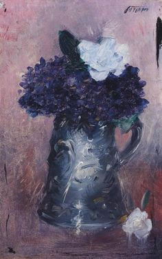 Jean Louis Forain (1852-1931), Violets (28 x 18 cm) on ArtStack #jean-louis-forain-1852-1931-1 #art