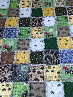 John Deere Rag Quilt Tractor 50 X 58 Cotton by nanaswoolies