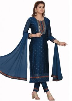 #navy #blue #embroidered #readymade #salwar #kameez #traditional #indian #salwar #suit #indianfashion #party #wear #collection #eid #2021 #ootd Readymade Salwar Kameez, Chanderi Suits, Straight Cut Pants, Organza Saree, Silk Pants, Pakistani Suits, Navy Blue Color, Party Wear Sarees, How To Dye Fabric