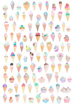 100 ice creams by Michelle Hammenfeldt -think this would make a cool print in a little ones bedroom.