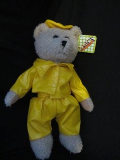 Teddy Bear with Yellow Rain Suit on 14  2002, Plush, Stuffed
