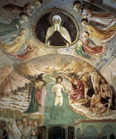 Masolino da Panicale - Battesimo di Cristo - affresco -1435 - Battistero, Castiglione Olona (Varese, Lombardia)