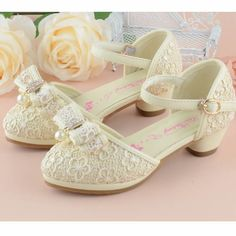 Cream Lace High Heel Two Piece Flower Pageant Girl Girls Dress Shoes SKU-133571