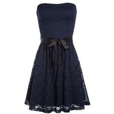 Robe bustier évasée en dentelle (€30) ❤ liked on Polyvore featuring dresses, bustier dress, blue bustier and blue dress