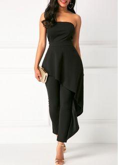 Ruffle Overlay Black Strapless High Waist Jumpsuit - Trend Way Dress Black Strapless Jumpsuit, Black Jumpsuit, Denim Jumpsuit, Black Women Fashion, Look Fashion, Womens Fashion, Fashion Vest, Ladies Fashion, Couture Mode