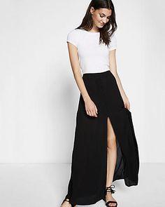 Black High Waisted Button Front Maxi Skirt