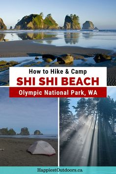 Hike and camp at Shi Shi Beach in Washington's Olympic National Park. Get all the info you need to hike to Shi Shi Beach - a wilderness beach on the Pacific Ocean. Explore tide pools, enjoy the scenery, and bask in the gorgeous sunsets. Backpacking guide for Shi Shi Beach. Wilderness camping at Shi Shi Beach. Beach camping in Olympic National Park, Washington. North Cascades National Park, Grand Teton National Park, Rocky Mountain National Park, American National Parks, Us National Parks, Camping Guide, Backpacking Tips, Canada Travel, Usa Travel