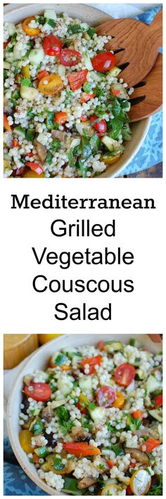 Mediterranean Grilled Vegetable Couscous Salad is a delicious way to use summer grilled vegetables in a healthy salad. Grilled zucchini, eggplant, bell peppers are tossed with couscous,tomato andcucumber, fresh herbs and a light lemony dressing.// acedarspoon.com #couscous #salad #cleaneating #healthy #salad #Mediterranean #Mediterraneandiet #vegetables #vegetarian #grilledvegetables #eggplant #zucchini #tomatoes