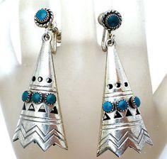 Sterling-Silver-Teepee-Turquoise-Earrings-Dangle-Screwback-Art-Deco-Southwestern