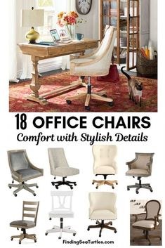 18 Modern Farmhouse Office Chairs for Your Workspace - Finding Sea Turtles Fire Pit Table And Chairs, Dining Table Chairs, Living Room Chairs, Ikea Chairs, Red Office Chair, Grey Desk Chair, Office Den, Office Workspace, Farmhouse Office Chairs