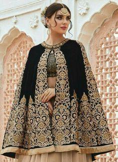 Preferable Faux Crepe Beige and Black Designer Lehenga Choli Pakistani Dresses, Indian Dresses, Indian Outfits, Traditional Fashion, Traditional Dresses, Eastern Dresses, Bolero, Indian Designer Wear, Couture Fashion