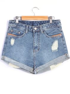 Shop Blue Ripped Cuffed Denim Shorts online. SheIn offers Blue Ripped Cuffed Denim Shorts & more to fit your fashionable needs.