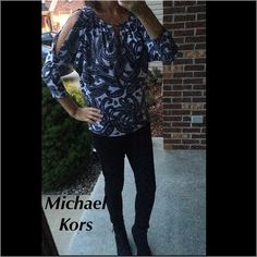 Michael Kors top Michael Kors cold shoulder top. paisley, black/white/gray. 3/4 sleeves, gold hardware. Brand new. Michael Kors Tops Blouses