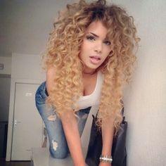 Hair, ombre hair color, blonde curly hair, honey blonde