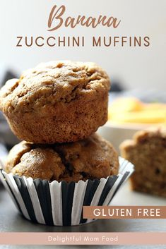 The most delicious and healthy banana zucchini muffin recipe for a healthy breakfast food idea. Gluten free and dairy free recipe! Quick Healthy Desserts, Healthy Gluten Free Recipes, Great Desserts, Dessert Ideas, Healthy Foods, Easy Recipes, Banana Zucchini Muffins, Zucchini Muffin Recipes, Banana Recipes