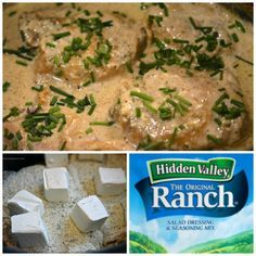 Secret Ingredient Creamy Ranch Slow Cooker Chicken -= 2 lbs chicken thighs, bone in and skin on (Use 4 lbs if you want less sauce for pasta)= 8 ounces cream cheese, room temp cut in cubes= 1 cup chicken broth= 1 package Ranch Dressing Mix (You are using the dry mix in this recipe!)= chives, for garnish= 4 slices bacon, cooked and crumbled for garnish (I forgot to add this!!!!!! Next time for sure