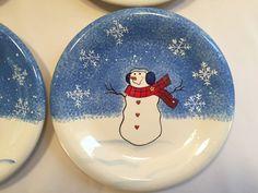 St. Nicholas Square Button Up Salad Plates Christmas Snowman Set of 4  #StNicholasSquare
