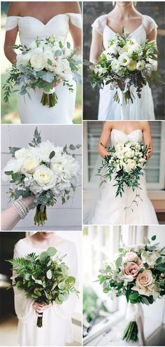 Rustic Greenery and Floral Wedding Bouquets Ideas