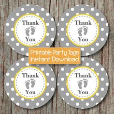 Baby Shower Thank You Tags INSTANT di BumpAndBeyondDesigns su Etsy
