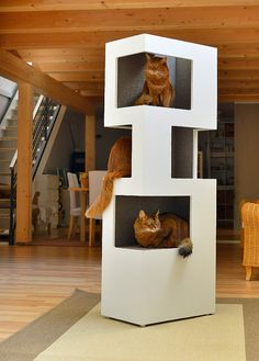 What an impressive cat condo and scratching tower. This Cat Tower is by Katzenbaumdesign on Etsy