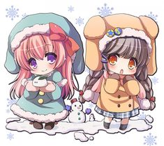 Dessin illustration fille moe kawaii sd chibi hiver noël par yuyutei...
