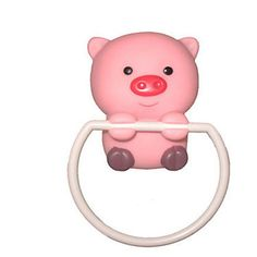 Pink Piggy Shaped Towel Ring, W12cm x L12cm x H5.5cm - GBP £ 3.56