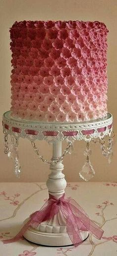 Love this stand! IDEA: Find lace that ribbon can be woven through and attach to side of cake plate. In love with ombre cake! Gorgeous Cakes, Pretty Cakes, Cute Cakes, Amazing Cakes, Fondant Cakes, Cupcake Cakes, Cake Cookies, Cupcakes Decorados, Decoration Patisserie