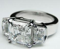 Large Asscher Cut Diamond Engagement Ring Cadillac Step cut Side Stones