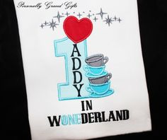 First Birthday Mad Hatter Tea Party Alice in Wonderland WONEDERLAND Inspired Birthday Shirt or Bodysuit Personalized Embroidered by PersonallyGraced, $28.00