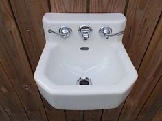 "Very Small Antique Kohler Porcelain 12"" Wall Sink for Tiny House or very small bath Circa 1950 by Almasfarmhouse on Etsy"