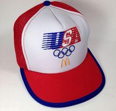 McDonald's USA 1984 Olympics Mesh Snapback Tracker Hat Cap Arches Red White Blue #McDonalds