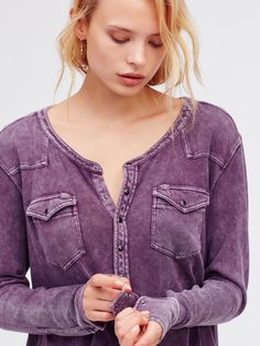 We The Free City Lights Henley   Perfect for everyday wear, this cotton Henley…